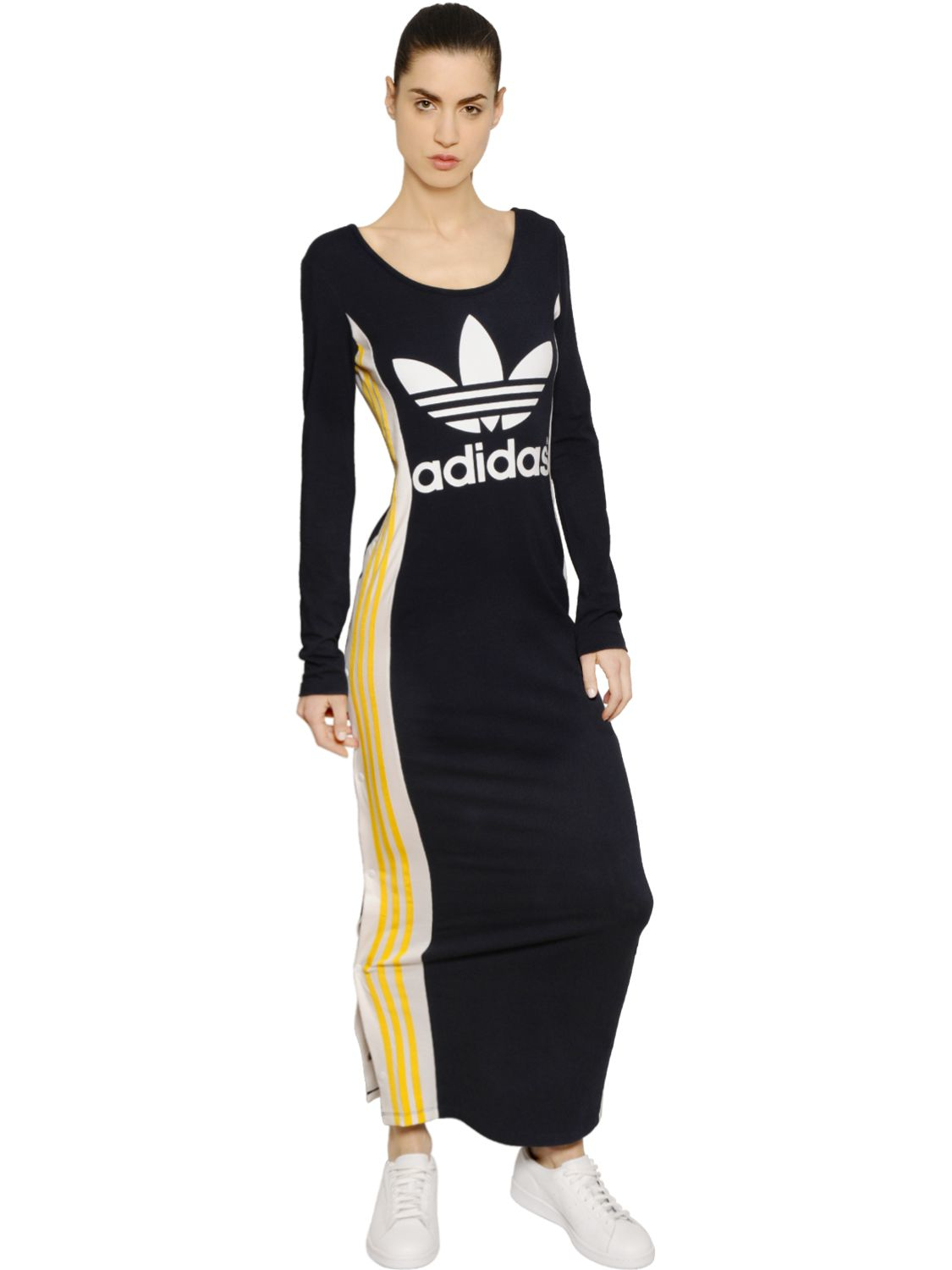 9ac9f16c0ba1 adidas Originals Cosmic Confession Cotton Jersey Dress in Blue - Lyst