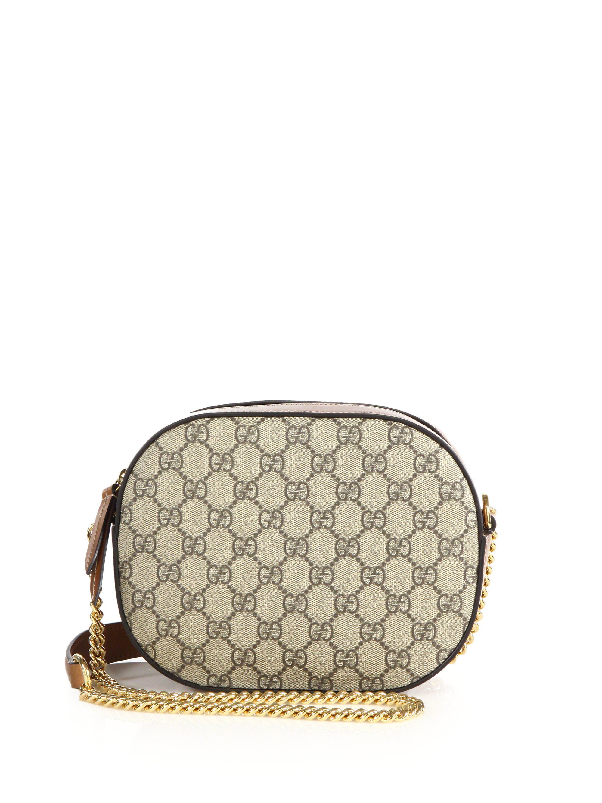 2840a61b565 Lyst - Gucci GG Supreme Canvas Mini Chain Bag in Brown