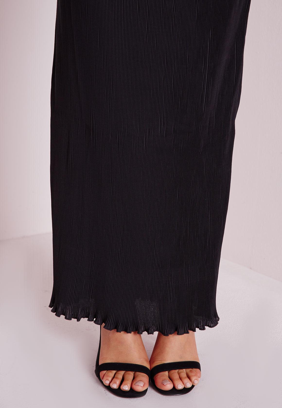 missguided pleated column maxi skirt black in black lyst