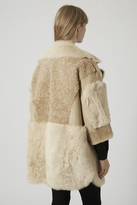 Topshop Patchwork Sheepskin Coat in Natural | Lyst