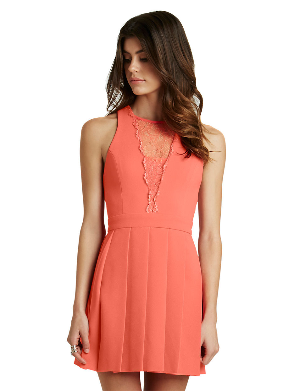 Bcbgeneration lace inset pleated dress