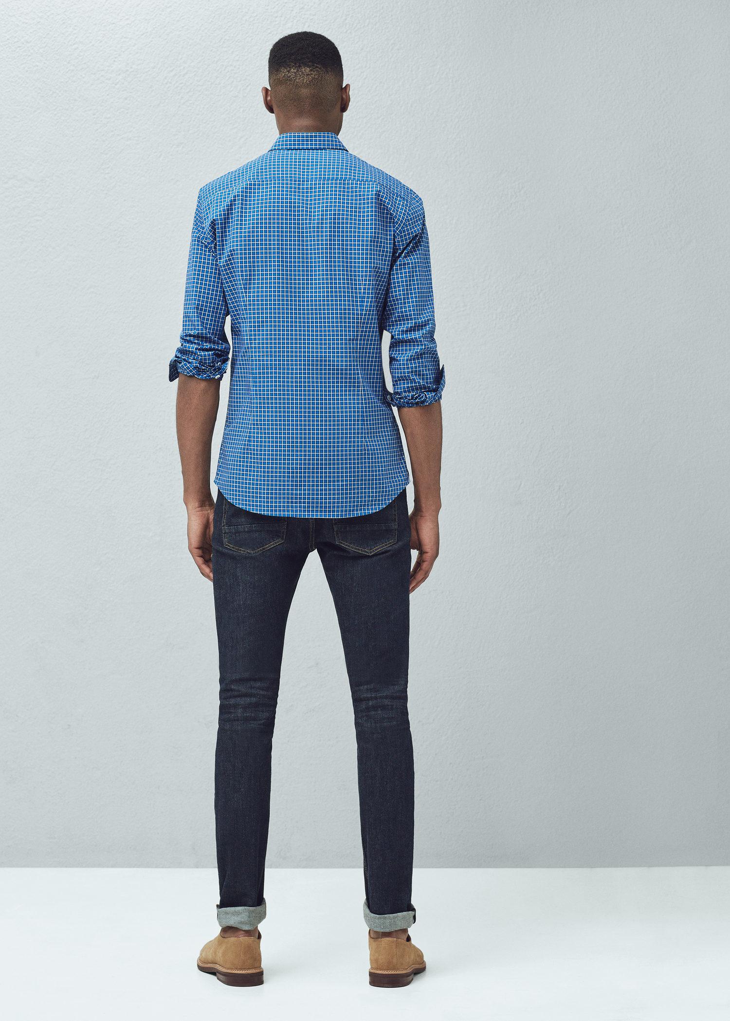 Mango Slim Fit Gingham Check Shirt In Blue For Men Lyst
