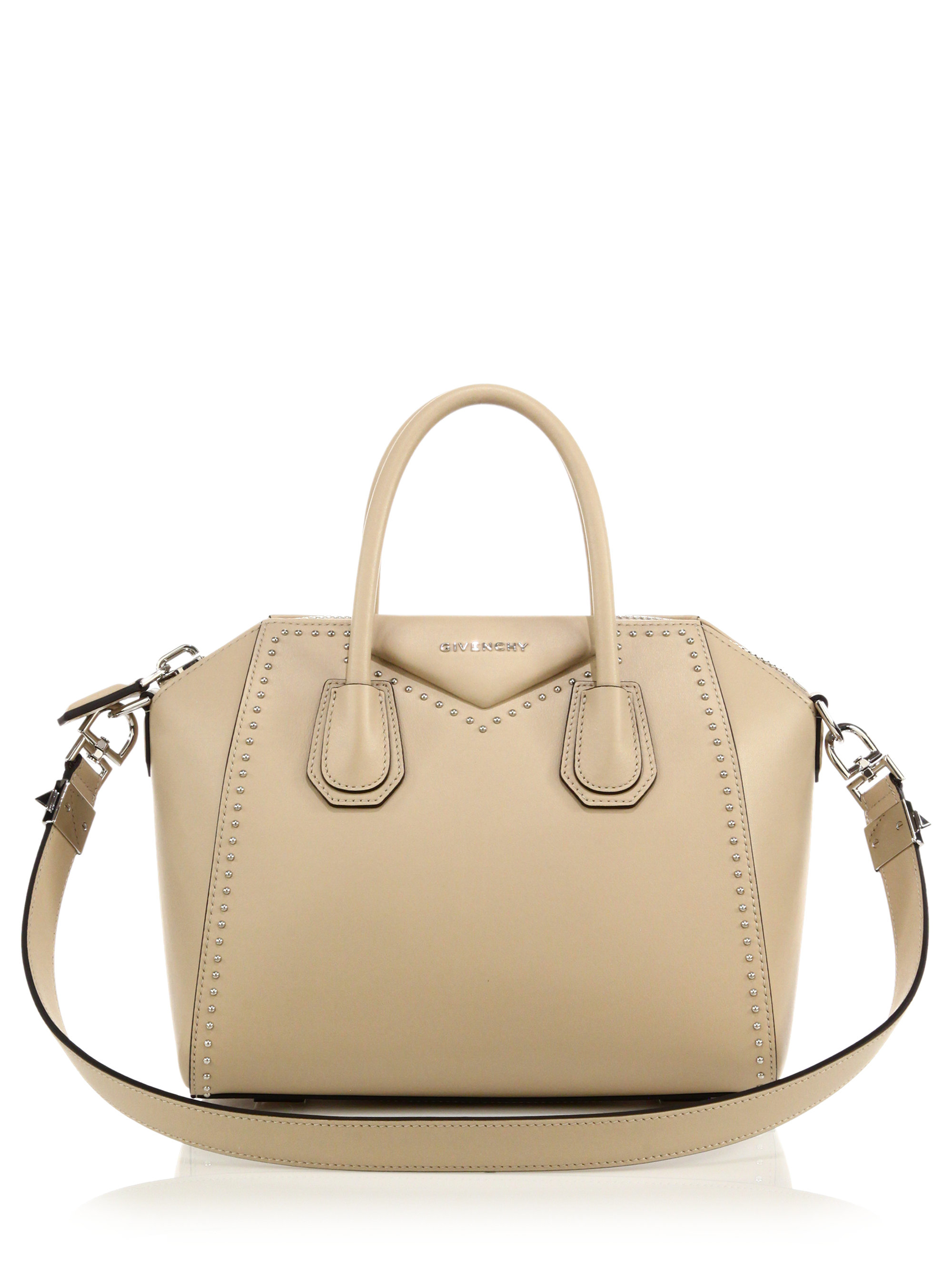 ef63352adb85 Lyst - Givenchy Antigona Small Studded Leather Satchel in Natural