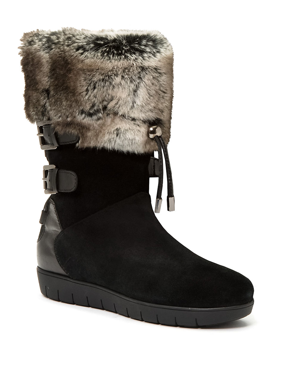aquatalia weslyn leather and faux fur lined boots in black