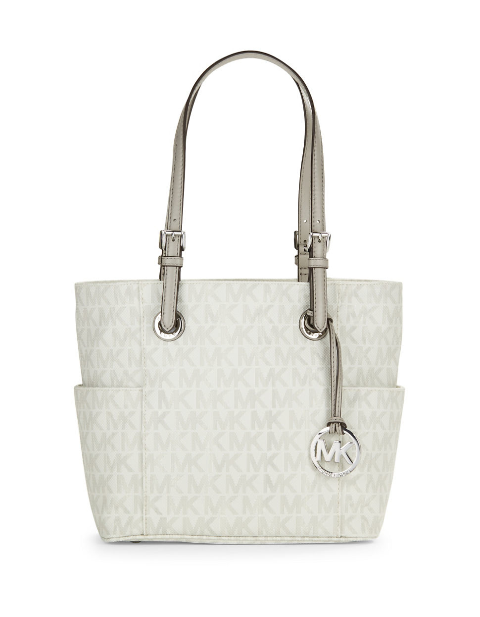 Michael Michael Kors Logo Faux Leather Tote In White Lyst