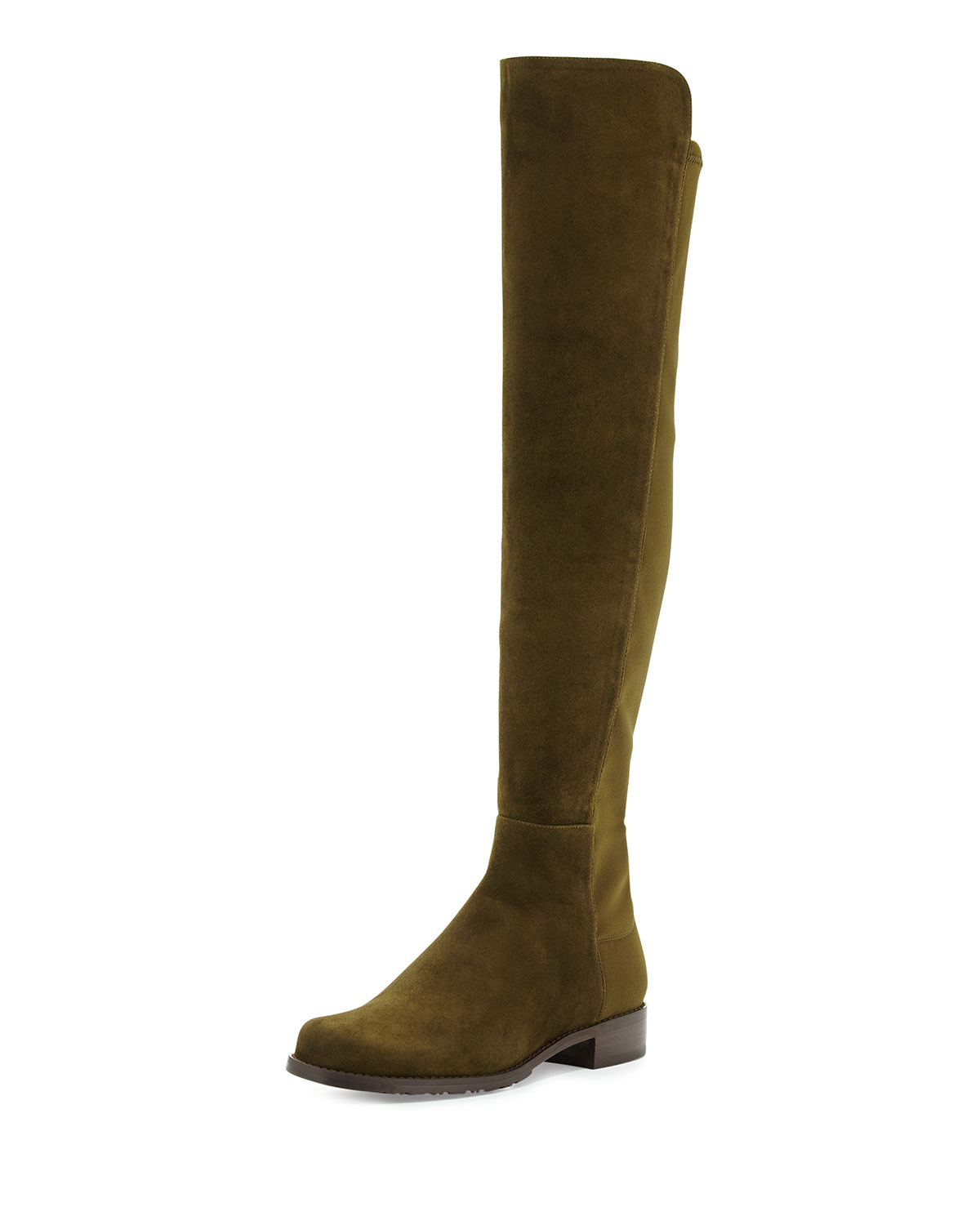 Stuart weitzman 50/50 Suede Over-the-knee Boot in Green | Lyst