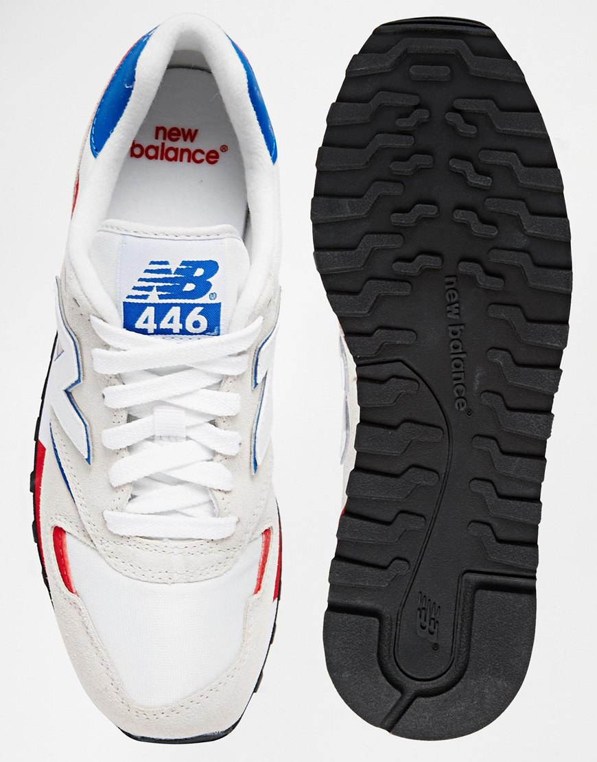 5b1cc3cb000b3 New Balance 446 White & Red Suede Mix Sneakers in Blue - Lyst