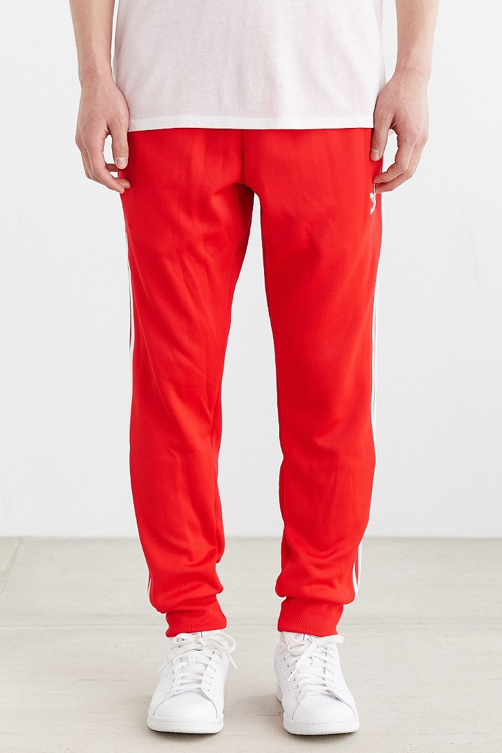 Adidas Originals Superstar Cuff Track Pant In Red For Men