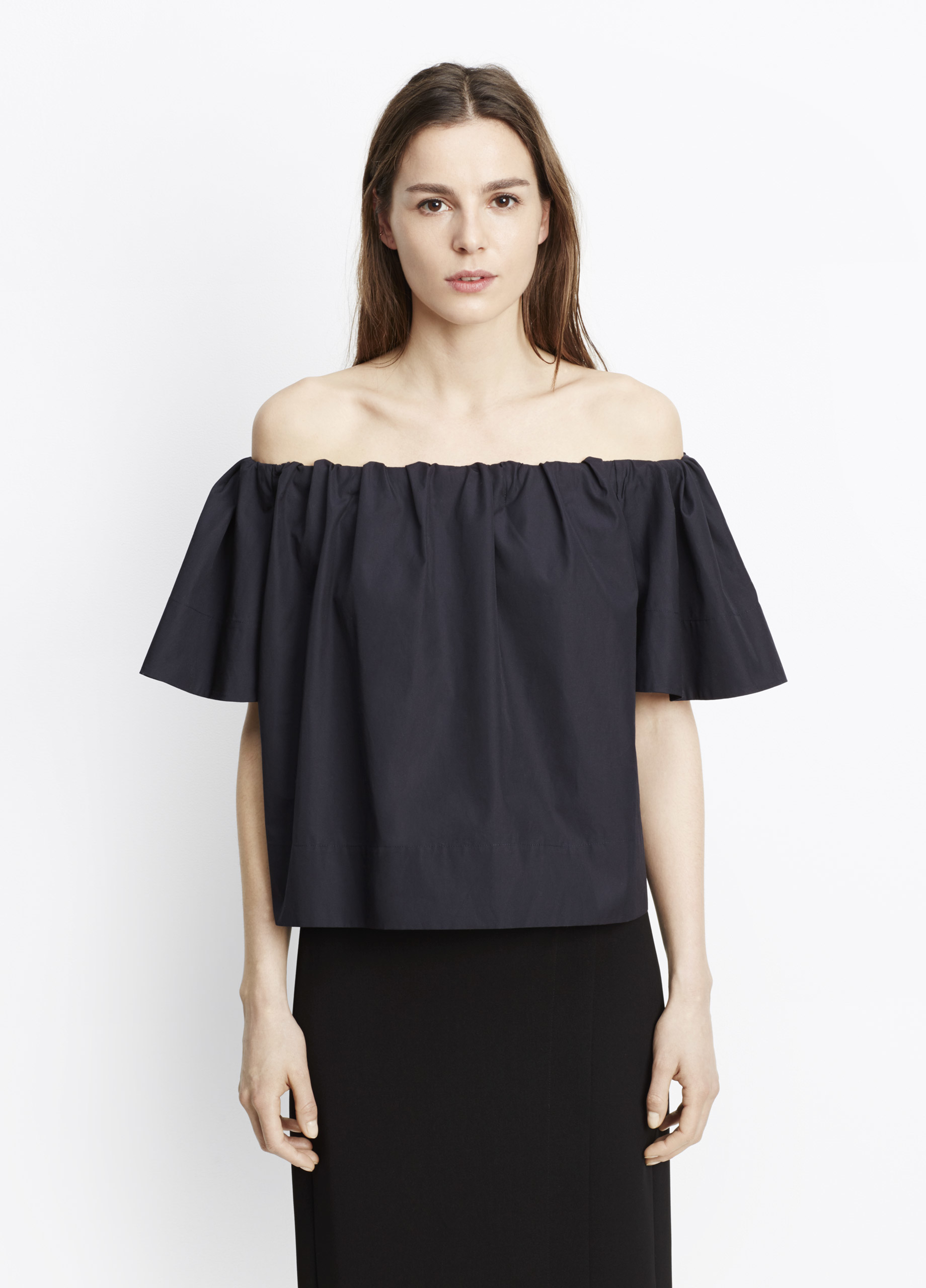 vince off the shoulder blouse in blue lyst. Black Bedroom Furniture Sets. Home Design Ideas