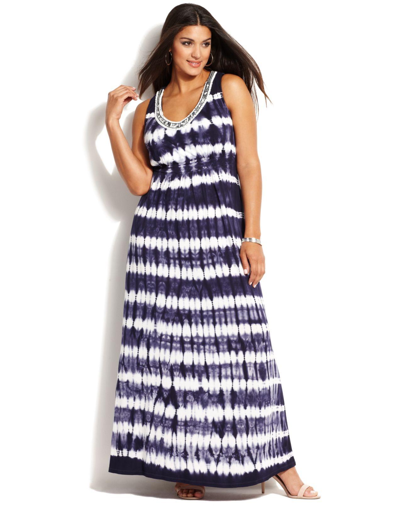 Plus Size Embellished Tiedye Maxi Dress
