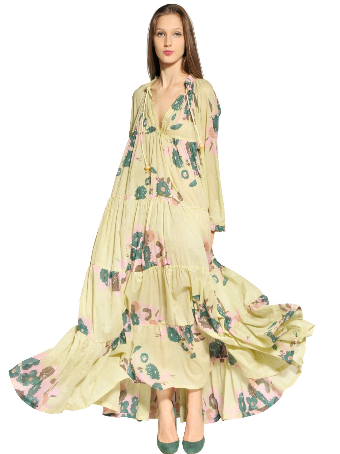 Yvonne s Cotton Poplin Floral Long Dress in Natural - Lyst