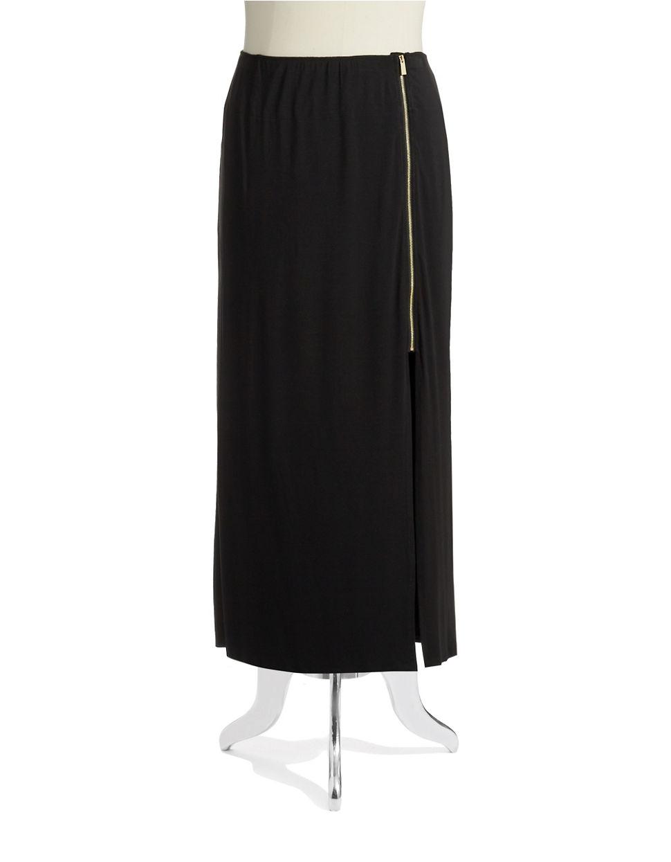 vince camuto side zipper maxi skirt in black rich black