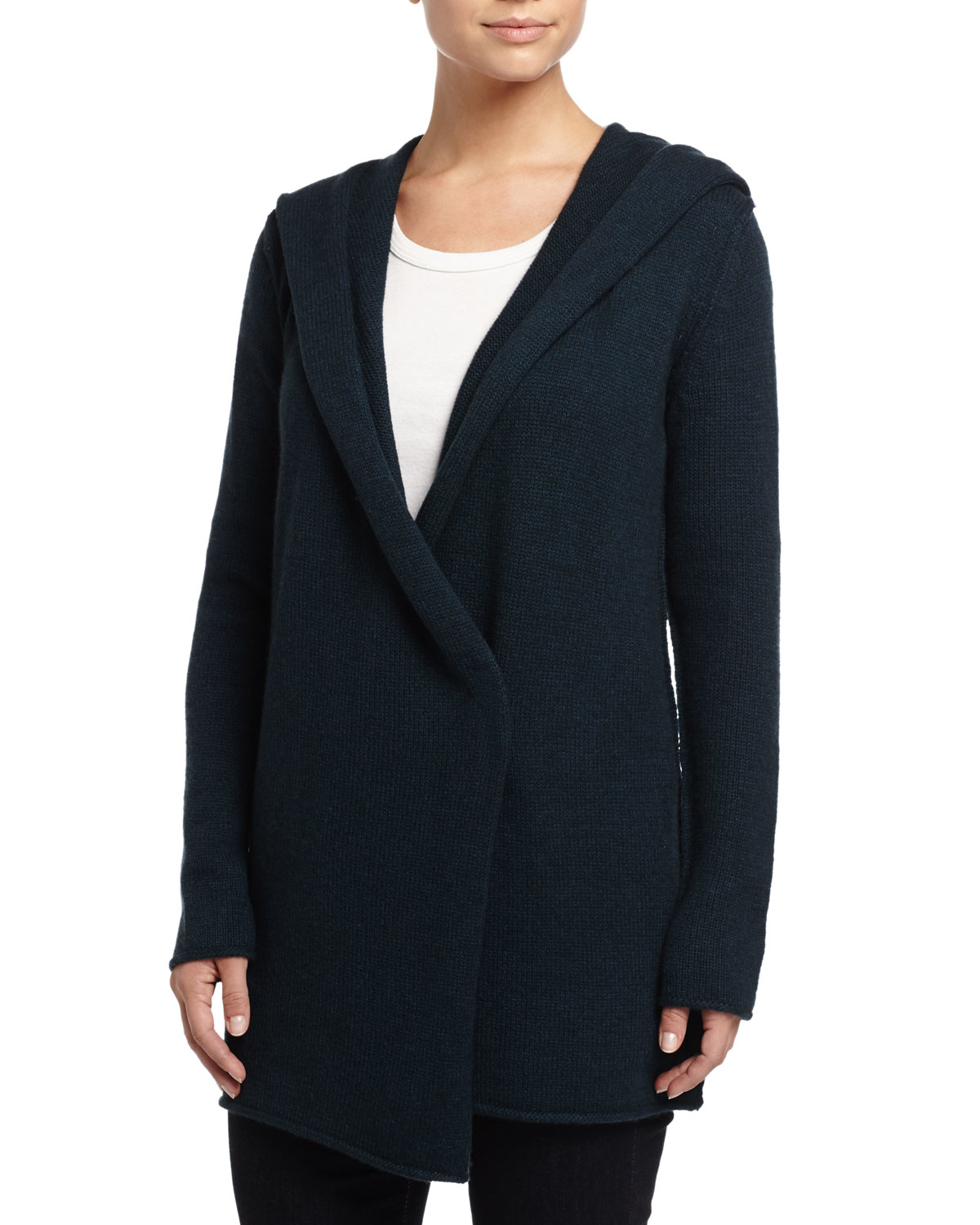 Vince Sophie Long Hooded Cardigan in Black | Lyst