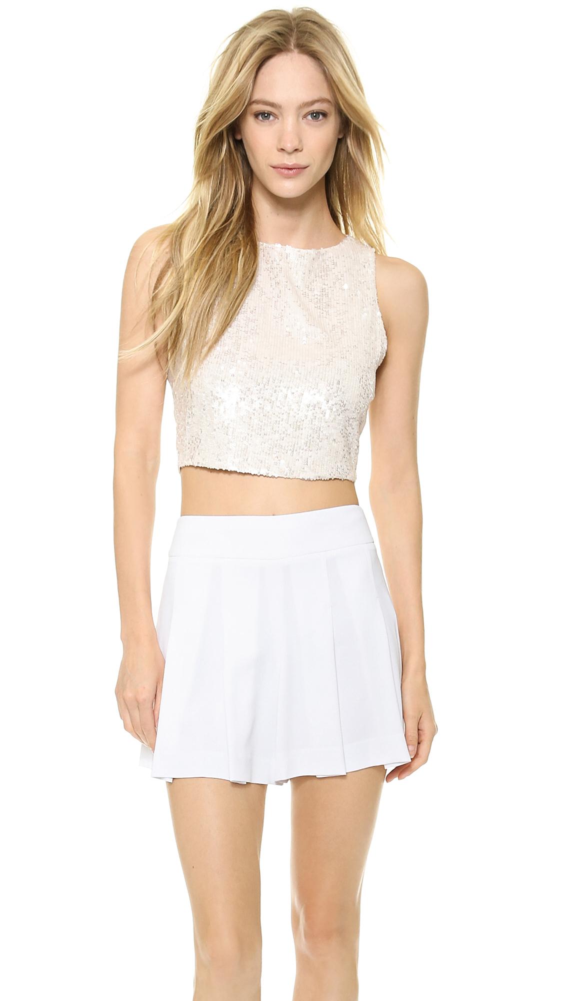 Alice Olivia Alice Olivia Pire Sequin Crop Top White In