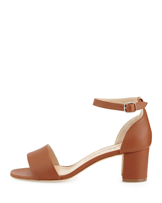 Lyst - Manolo blahnik Lauratomod Block-heel Ankle-strap Sandal in ...