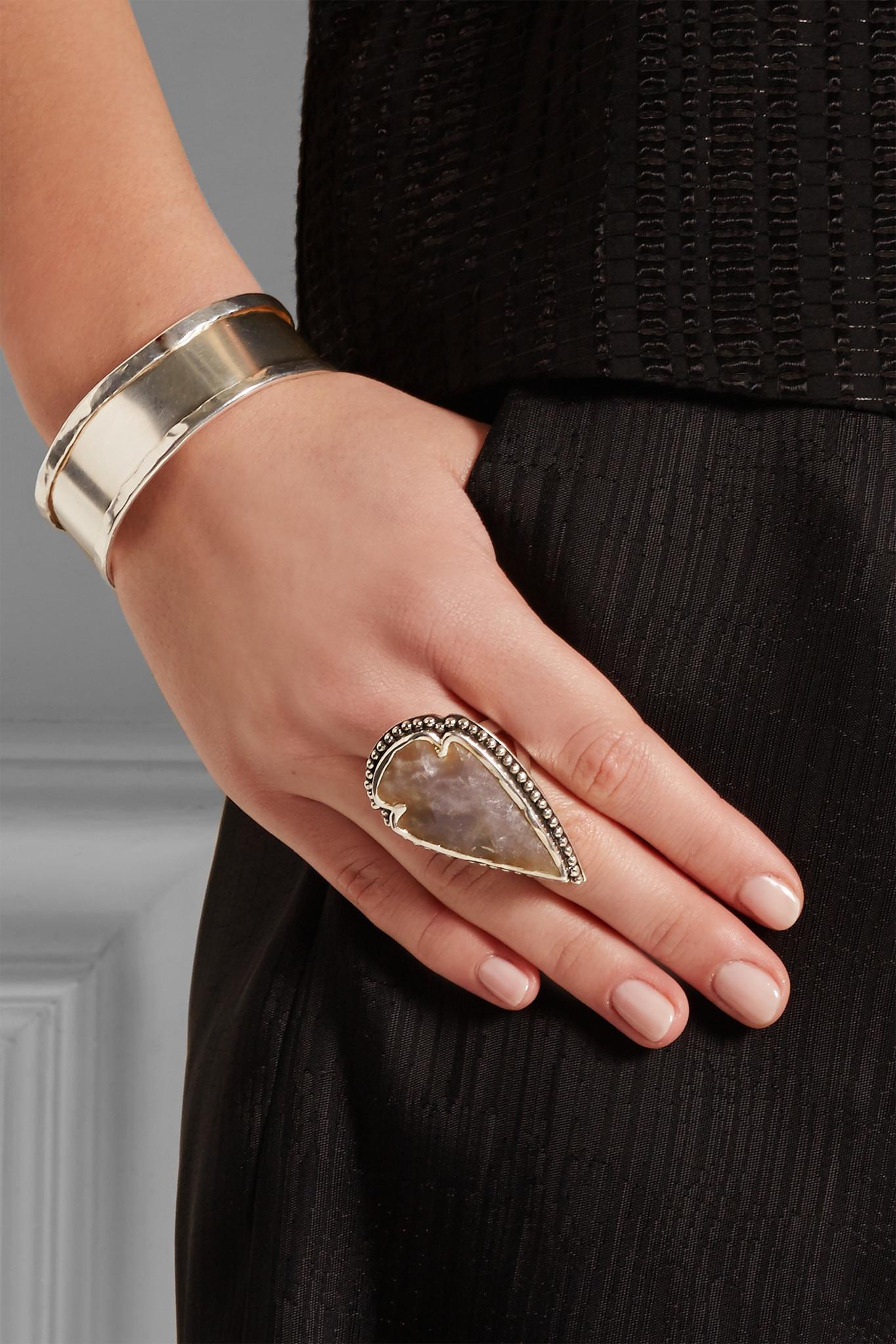 Pamela Love Arrowhead Silver Jasper Ring in Metallic