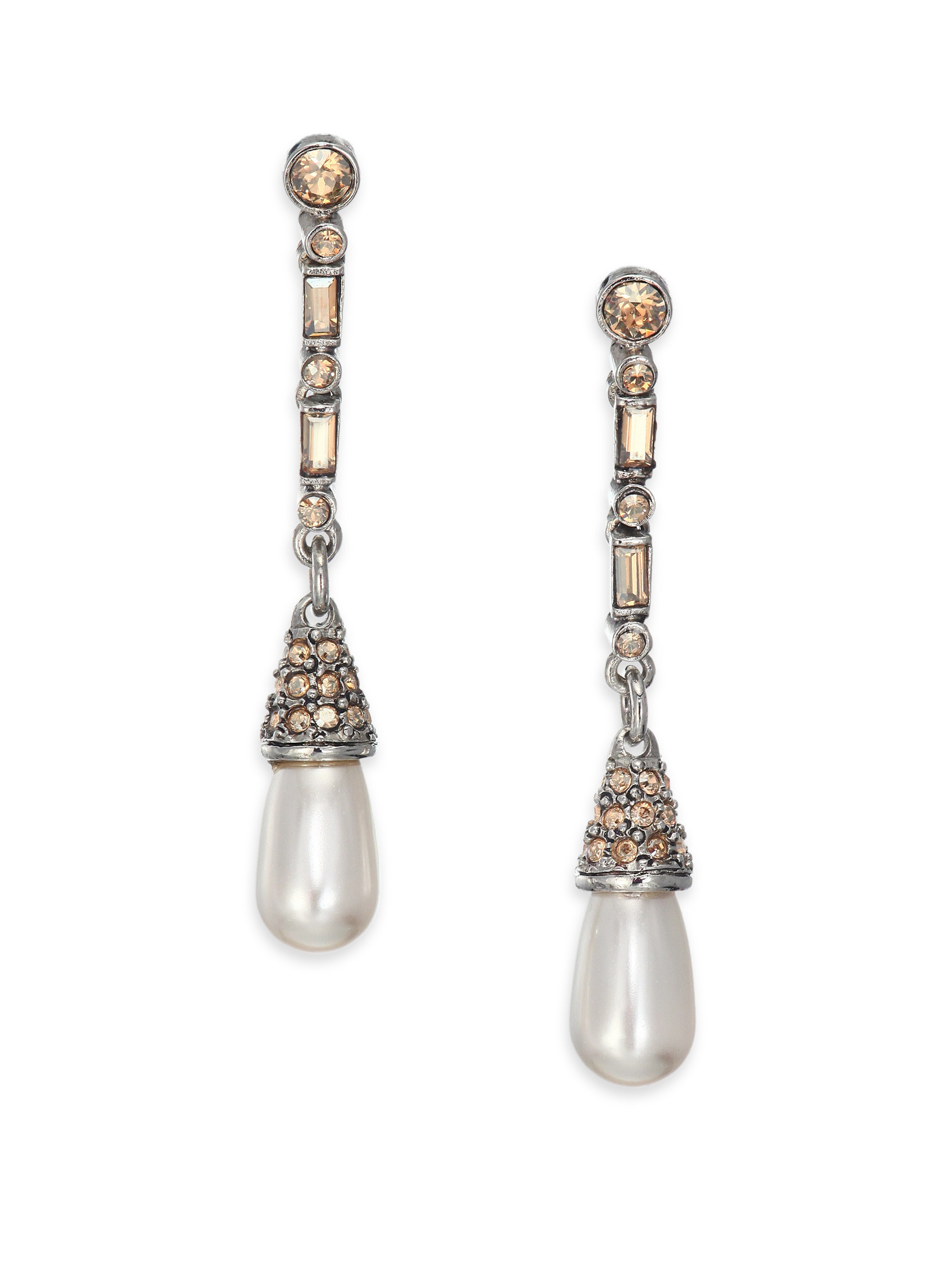pearl us white stud front bead back earrings and shaker faux amp icing