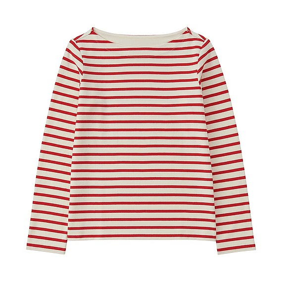 Uniqlo Striped Boat Neck Long Sleeve T Shirt In Red Lyst