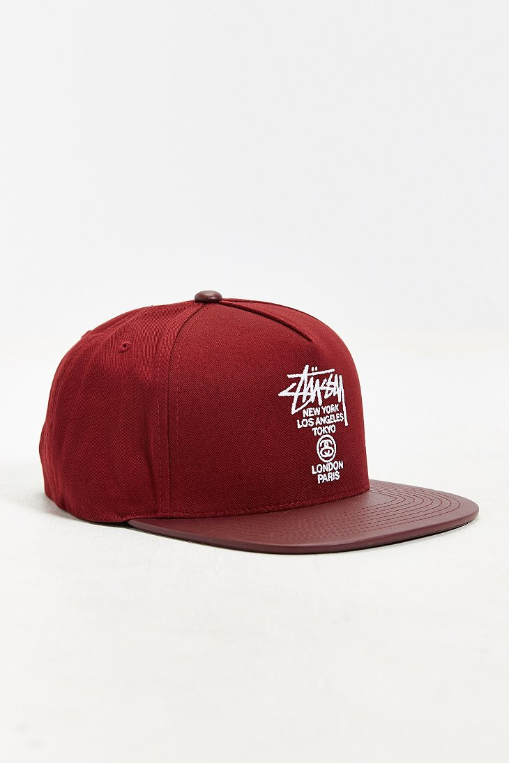 71dce7f6e88a61 21c78 5eb13; ireland lyst stussy world tour snapback hat in red for men  3ee6a 94b7e