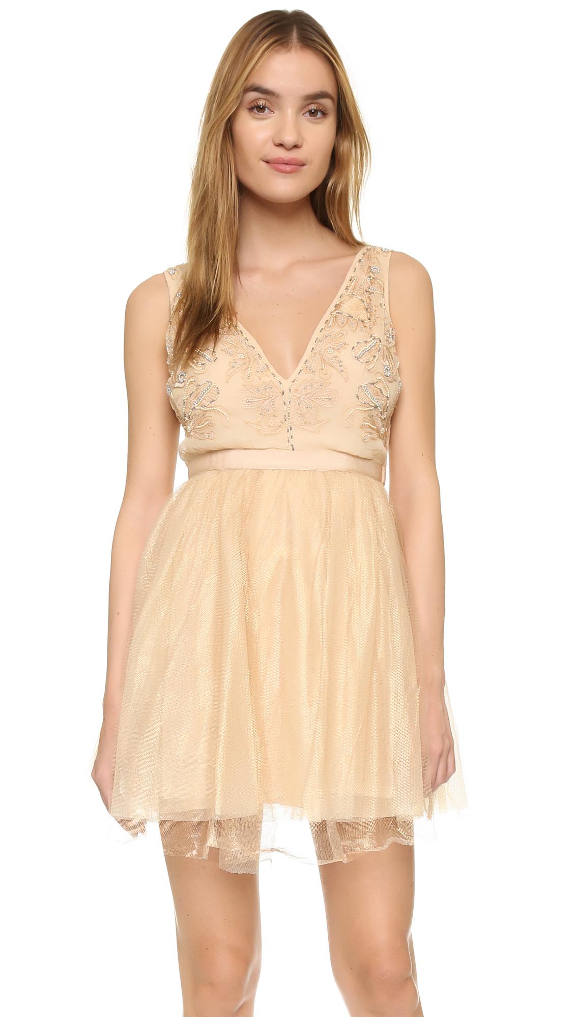 Free People Chiffon Deja Vu Mini Dress In Rose Gold Pink