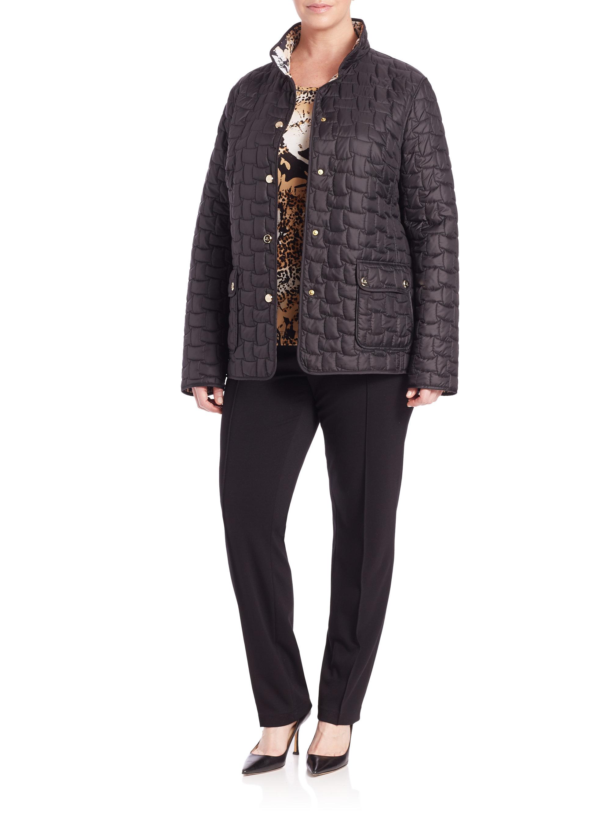 Basler Quilted Reversible Leopard Print Jacket In Black Lyst