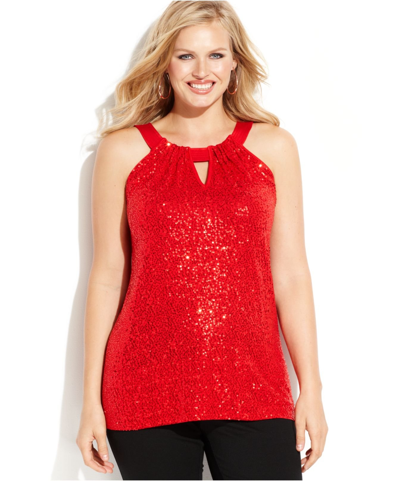 INC International Concepts Plus Size Sequin-Embellished ...