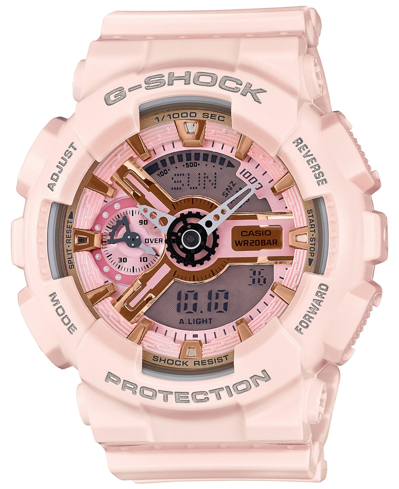 g shock s analog digital light pink bracelet