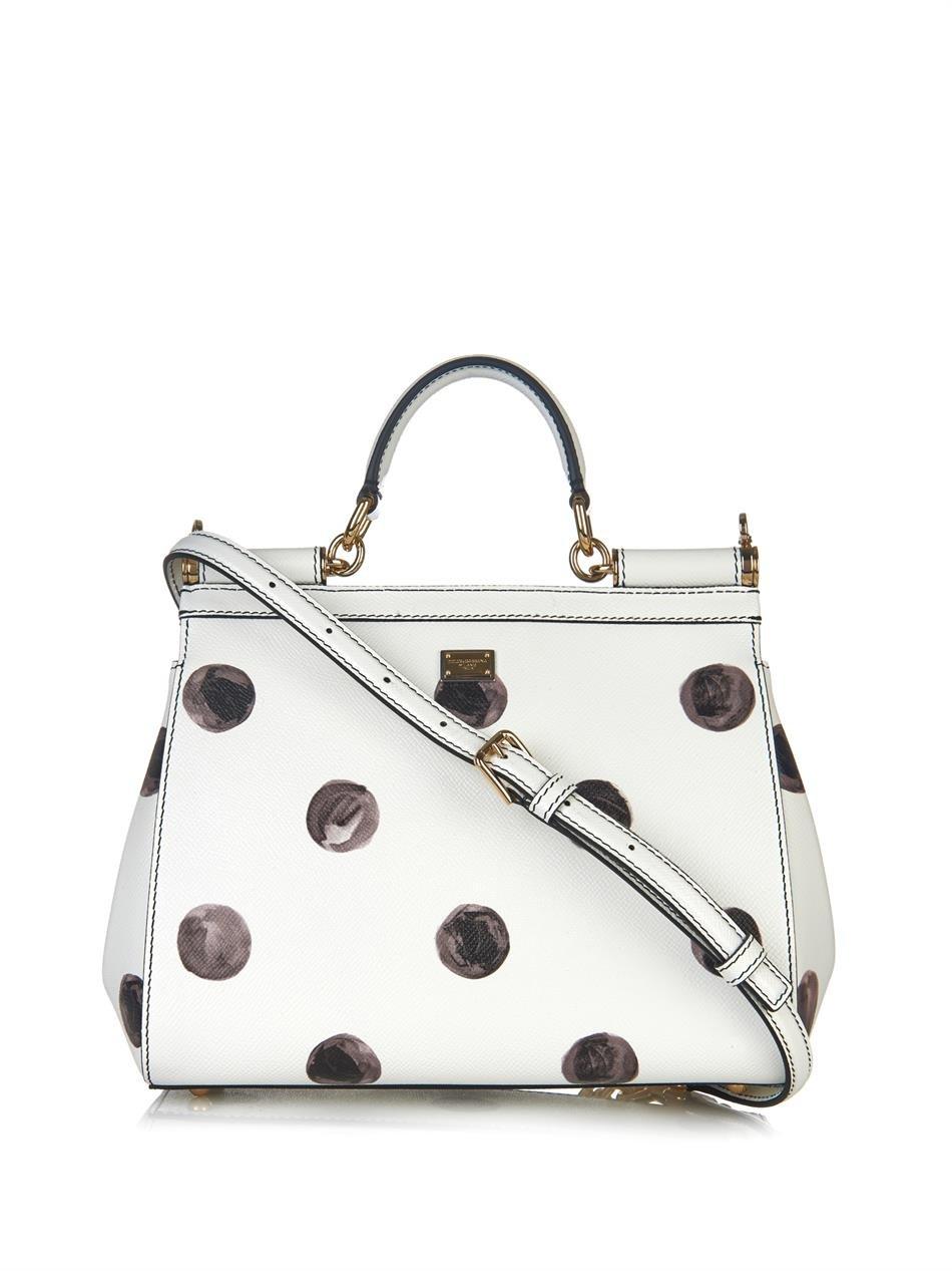 a41a6b3678a9 Lyst - Dolce   Gabbana Sicily Mini Polka-Dot Leather Bag in White