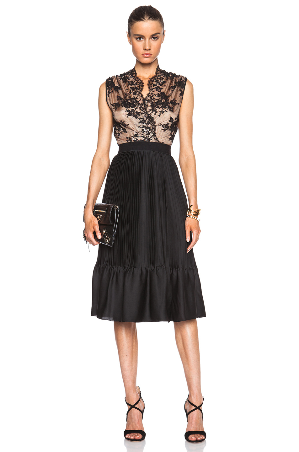 Tome Lace &amp Pleated Tank Dress in Pink  Lyst