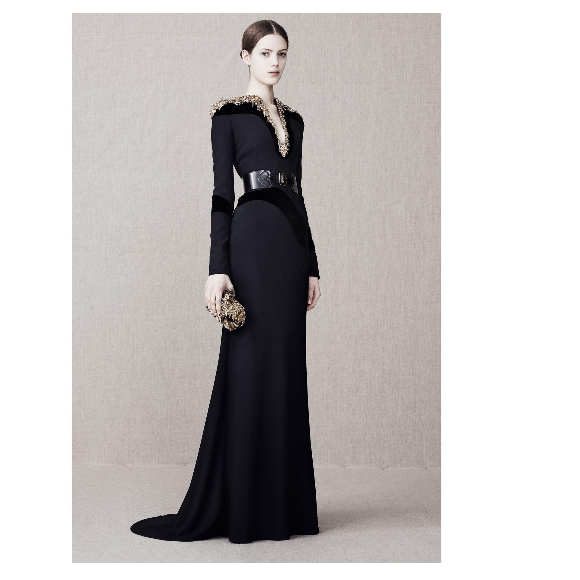 Lyst - Alexander Mcqueen Glory Embellished Floor Length Gown in Black