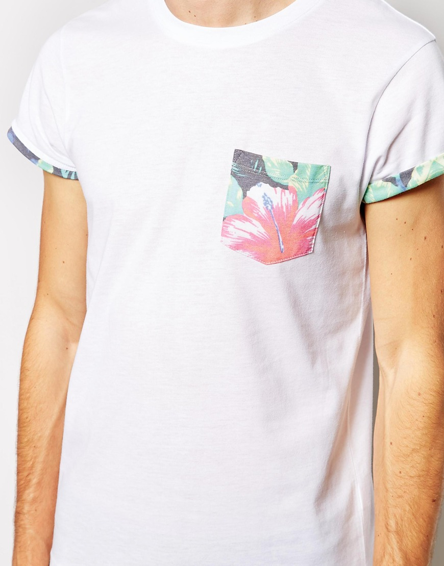 Lyst Asos T Shirt With Flower Print Pocket And Printed Roll Sleeve