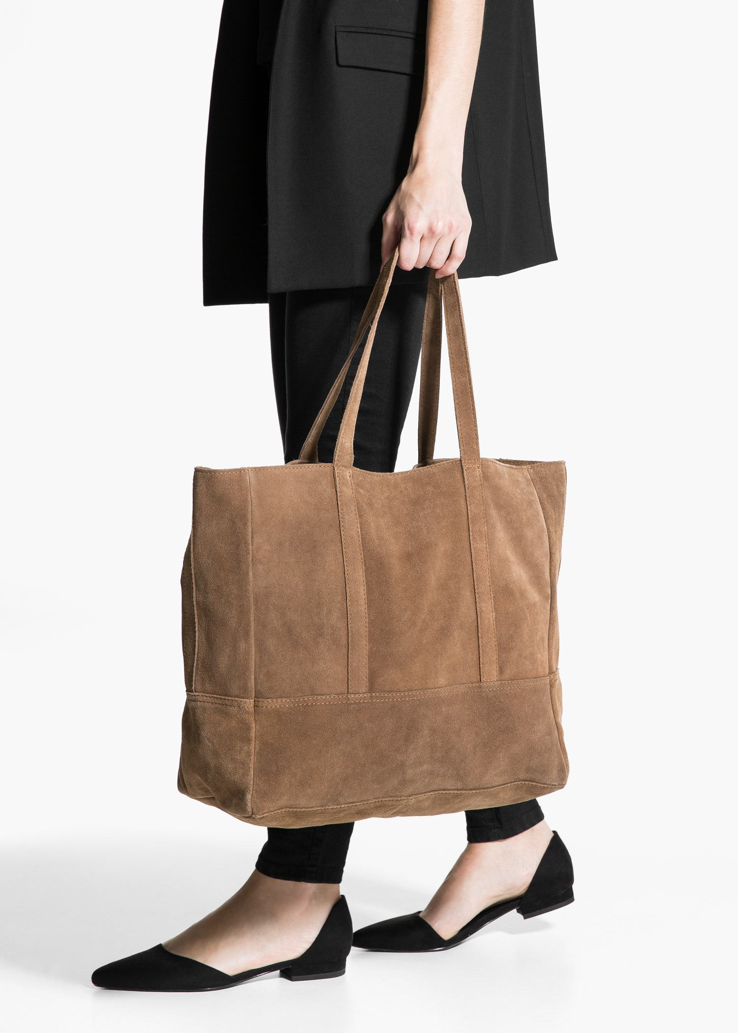 44e59cada Mango Suede Shopper Bag in Brown - Lyst