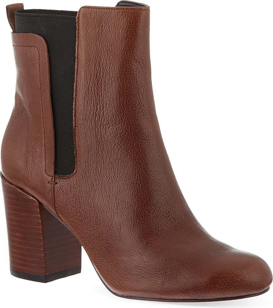 nine west saga leather ankle boots in brown lyst