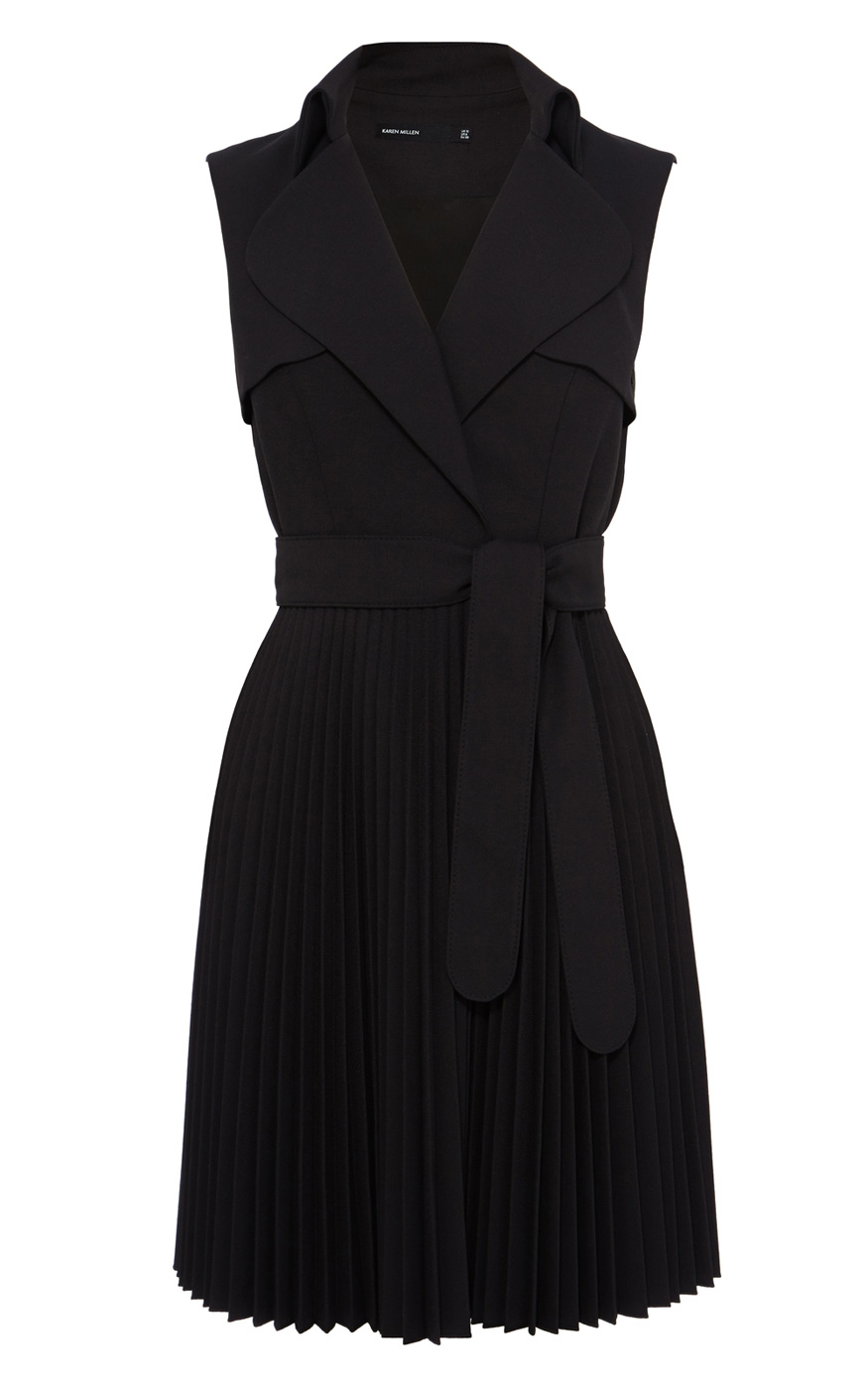 Karen Millen Belted Trench Dress In Black Lyst