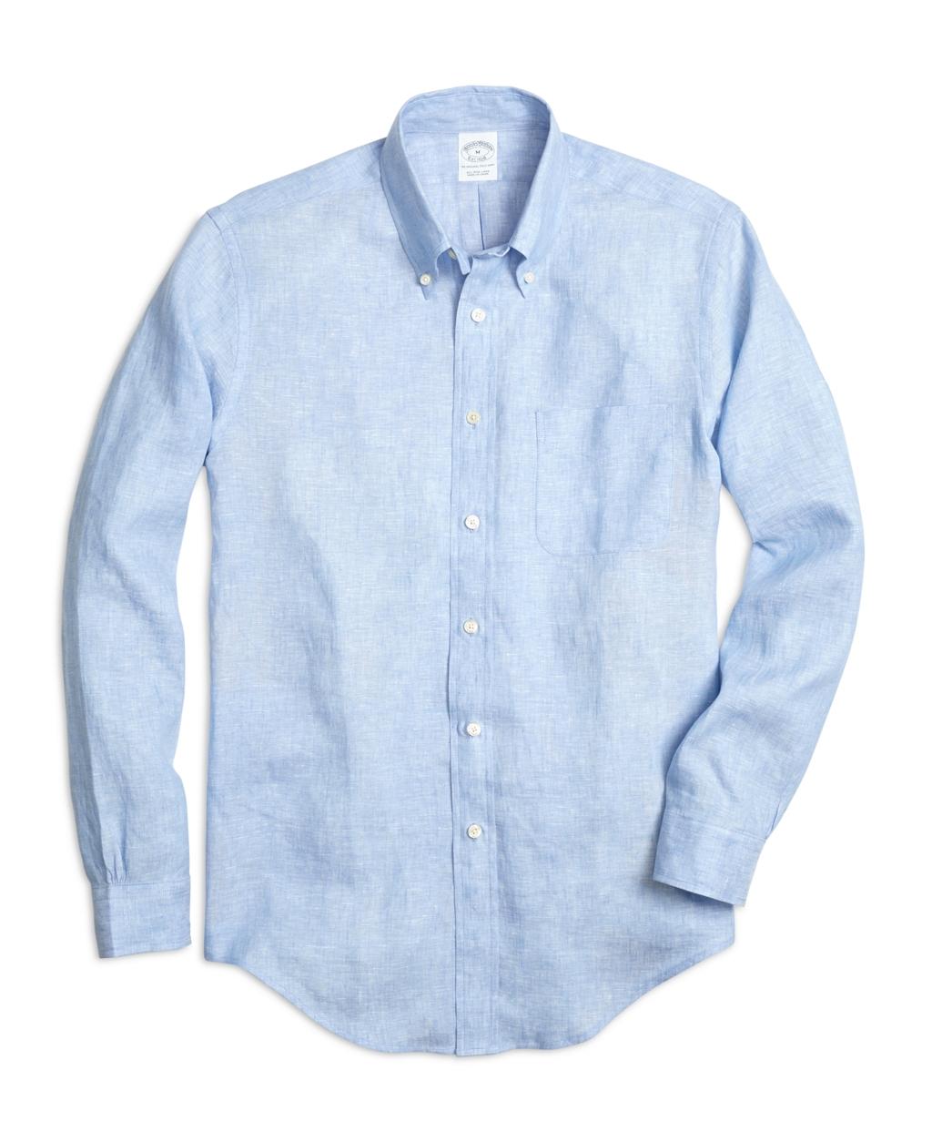 Brooks brothers regent fit linen sport shirt in blue for for Brooks brothers sports shirts