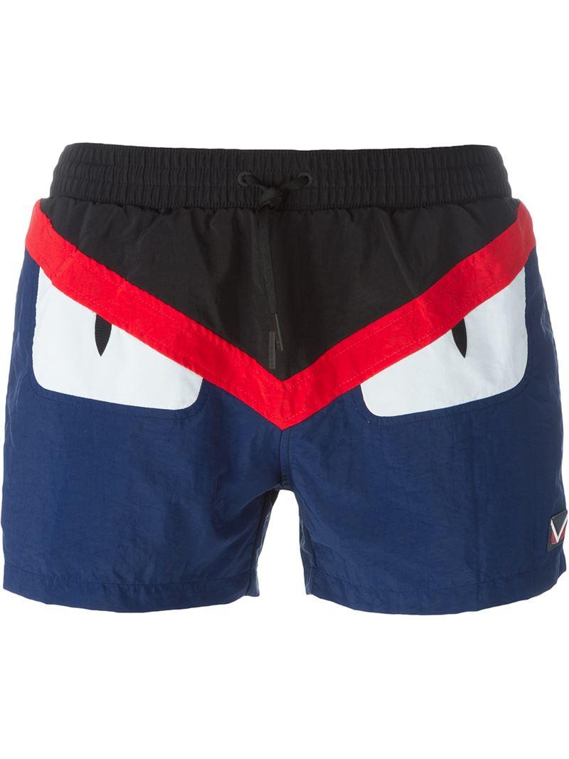08a3a6d3ad Fendi Bag Bugs Swim Shorts in Black for Men - Lyst
