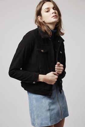 Topshop Moto Cord Borg Western Jacket In Black Lyst