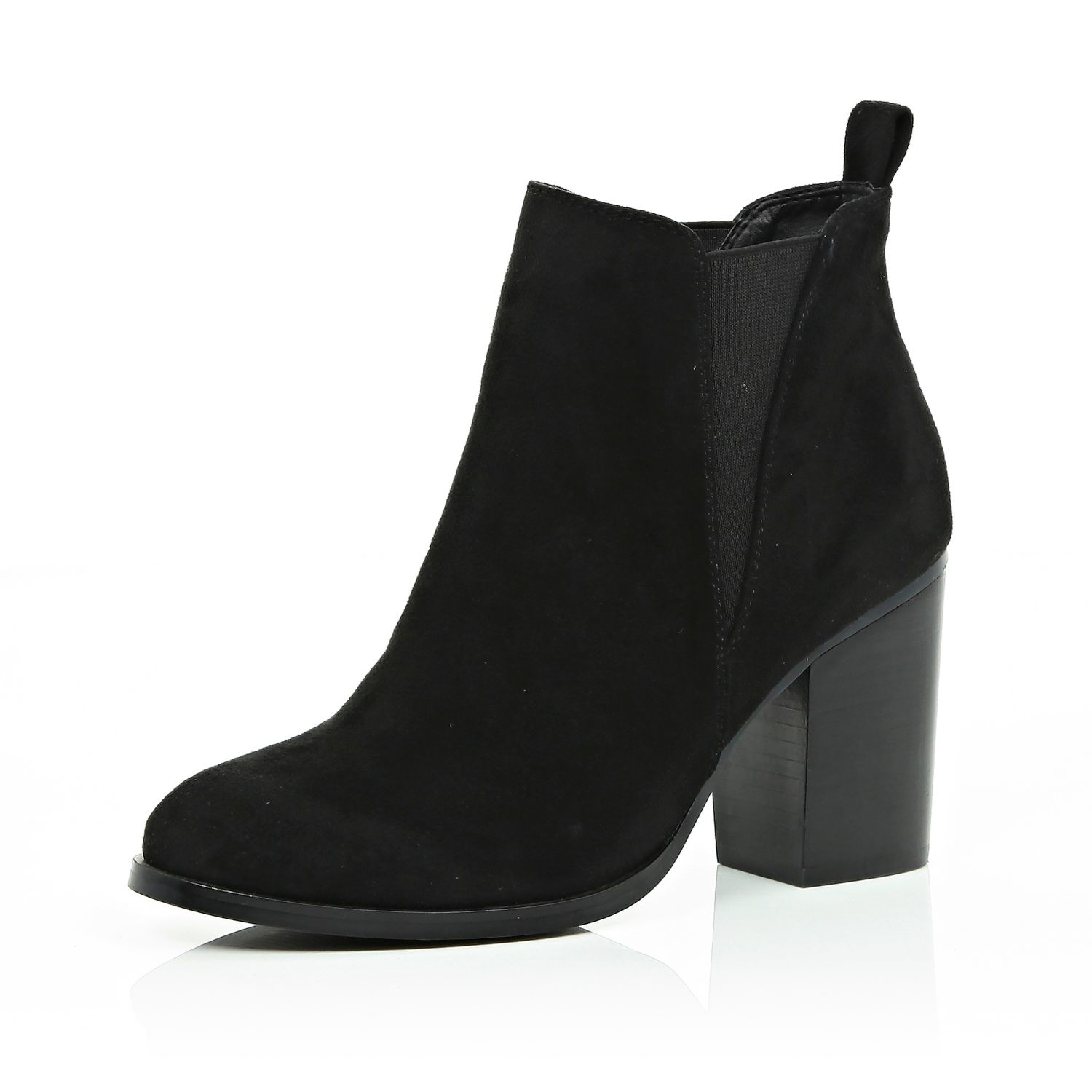 river island black heeled chelsea boots in black lyst