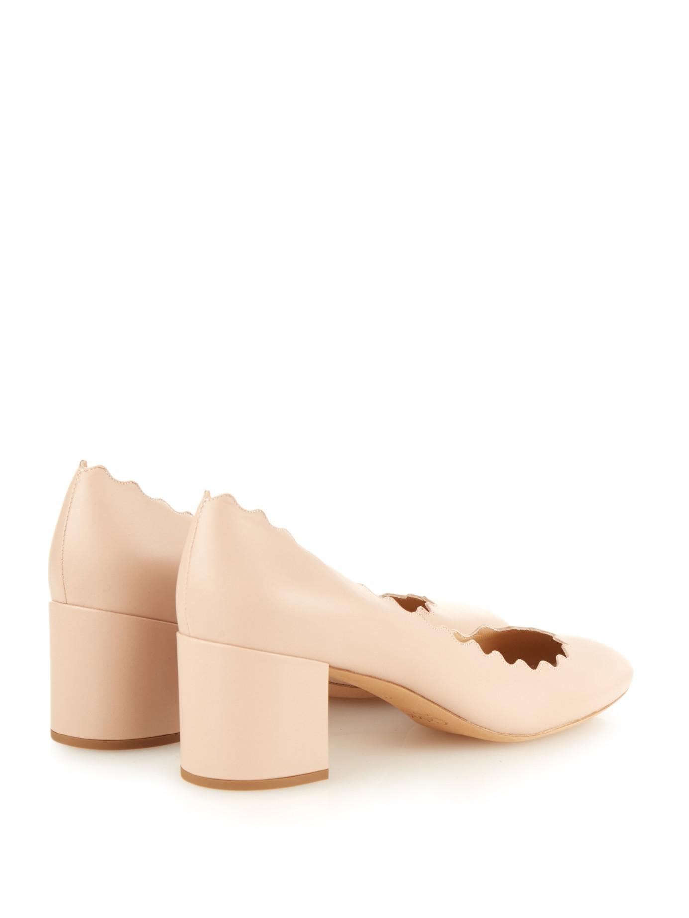 dccfe8ab1d4 Lyst - Chloé Lauren Scalloped-edge Block-heel Leather Pumps in Pink