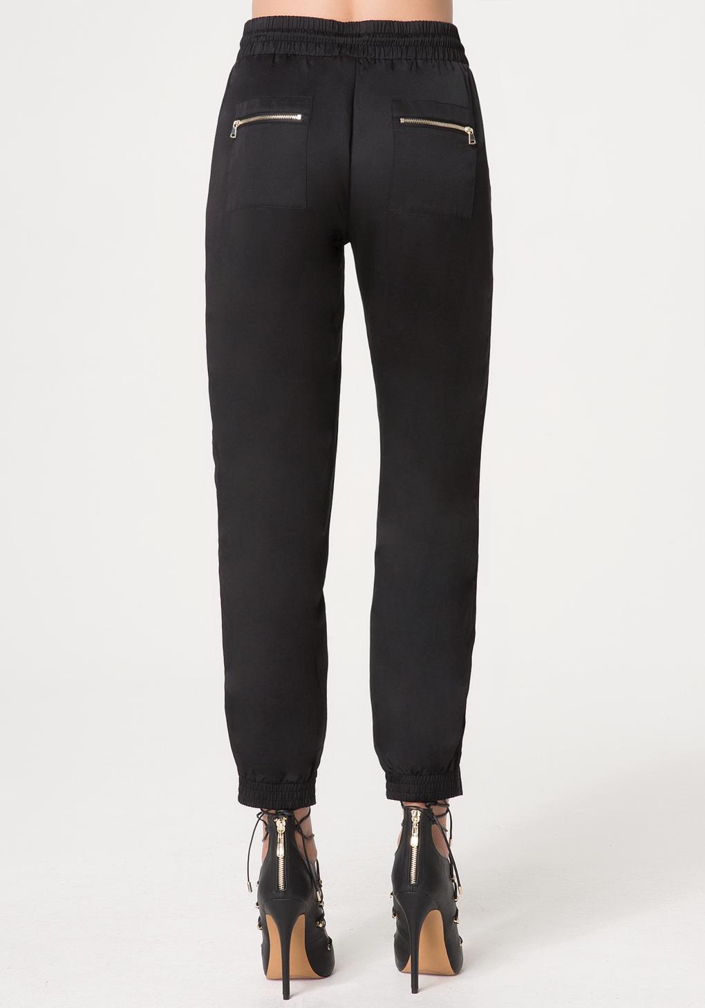 Lyst Bebe Silk Jogger Pants In Black