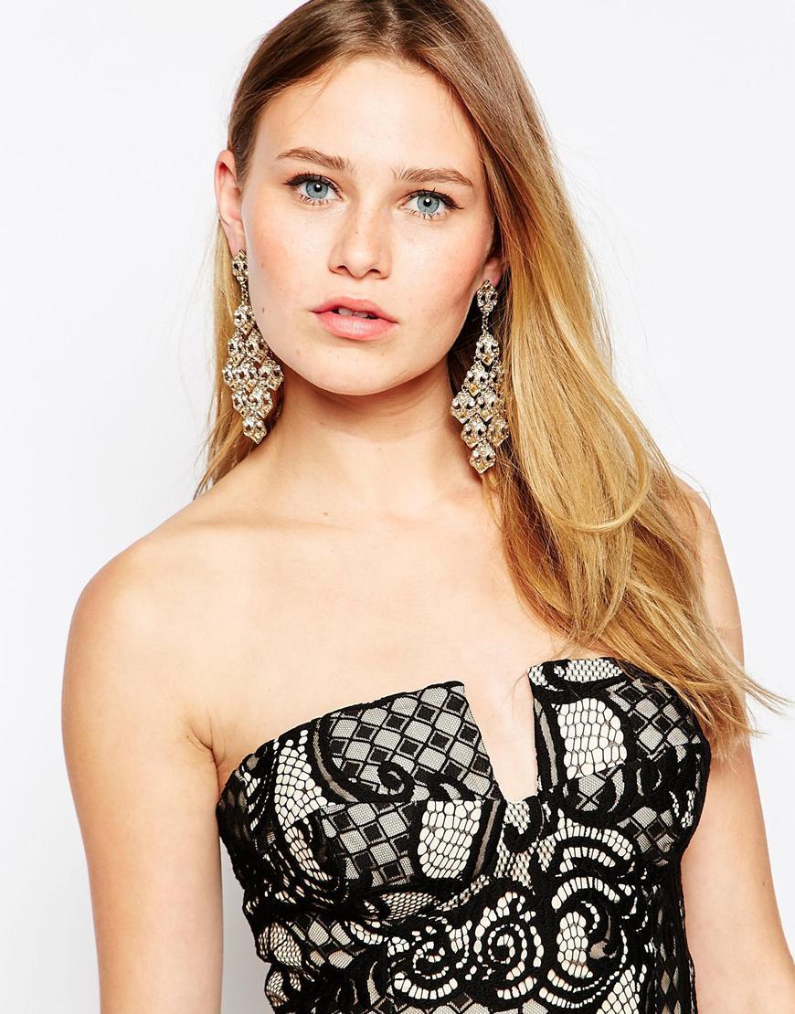 Lipsy Crystal Chandelier Earrings in Metallic   Lyst