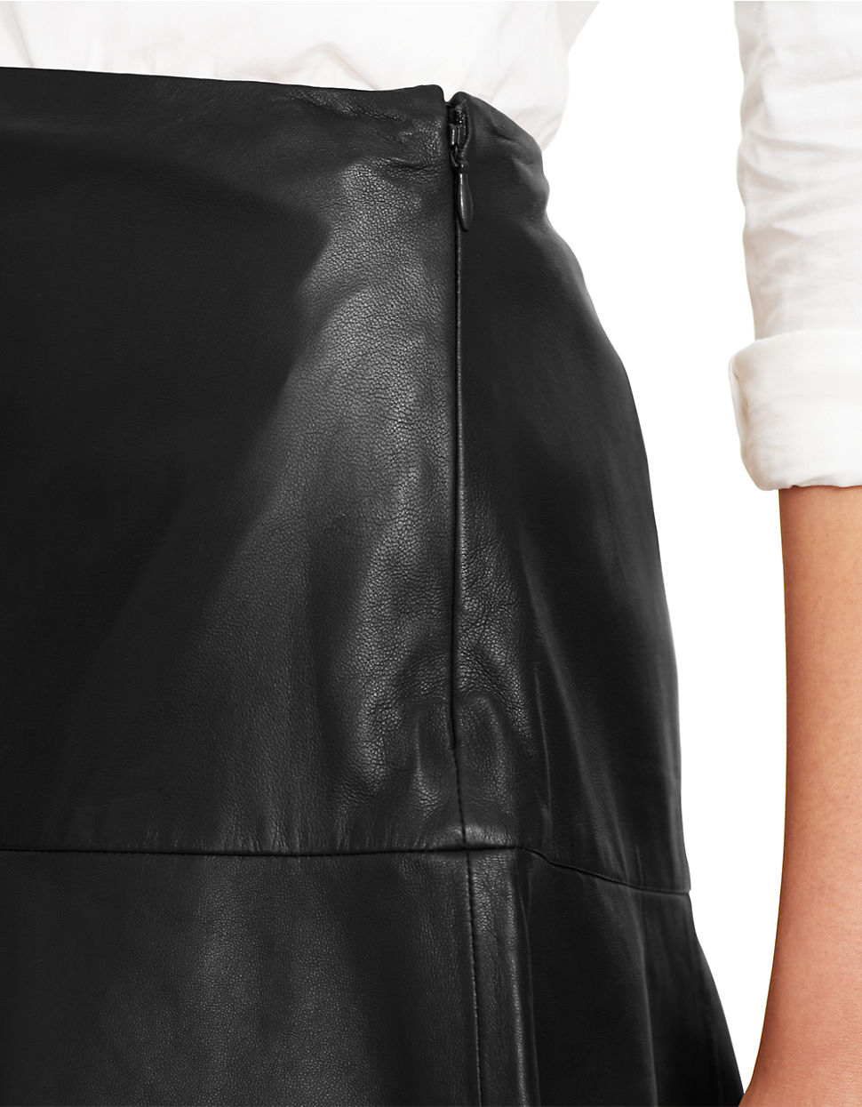 by ralph ruffled leather skirt in black lyst