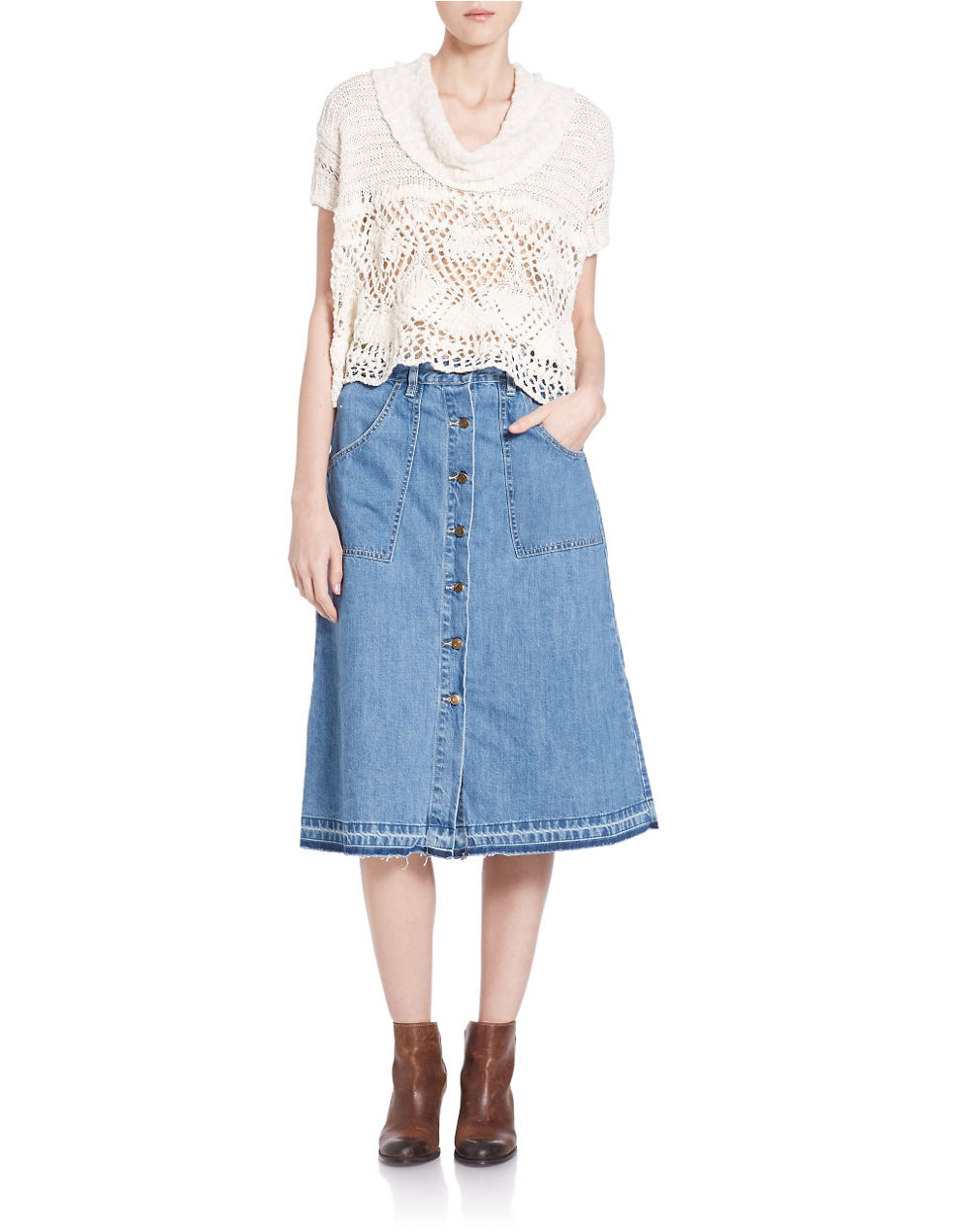Free people A-line Raw-edge Denim Midi Skirt in Blue | Lyst