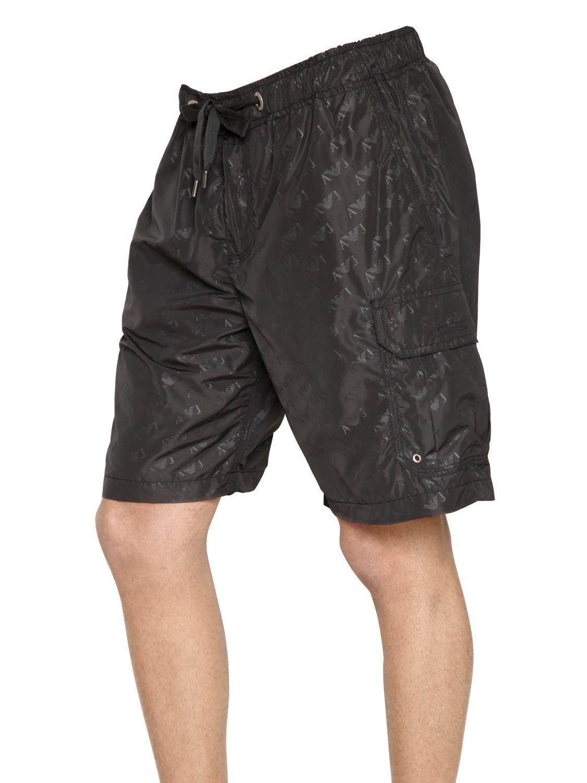 753aacf19e Armani Jeans Logo Print Nylon Swimming Trunks in Black for Men - Lyst