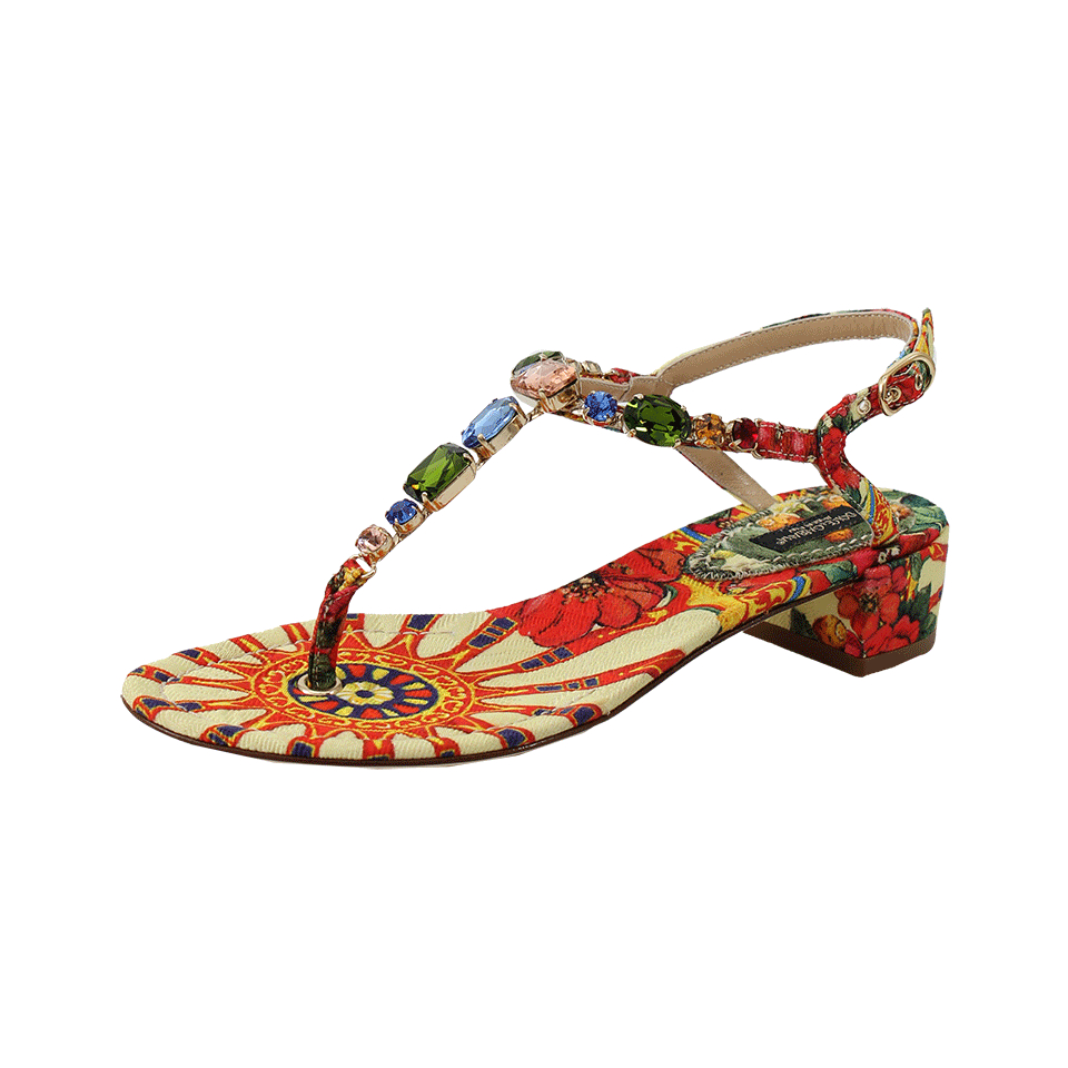 8b2b78a058167 Lyst - Dolce   Gabbana Crystal Embellished Thong Sandal in Yellow