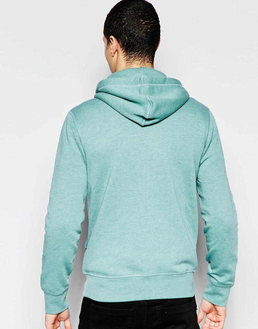 jack jones zipped through hoodie in green for men lyst. Black Bedroom Furniture Sets. Home Design Ideas