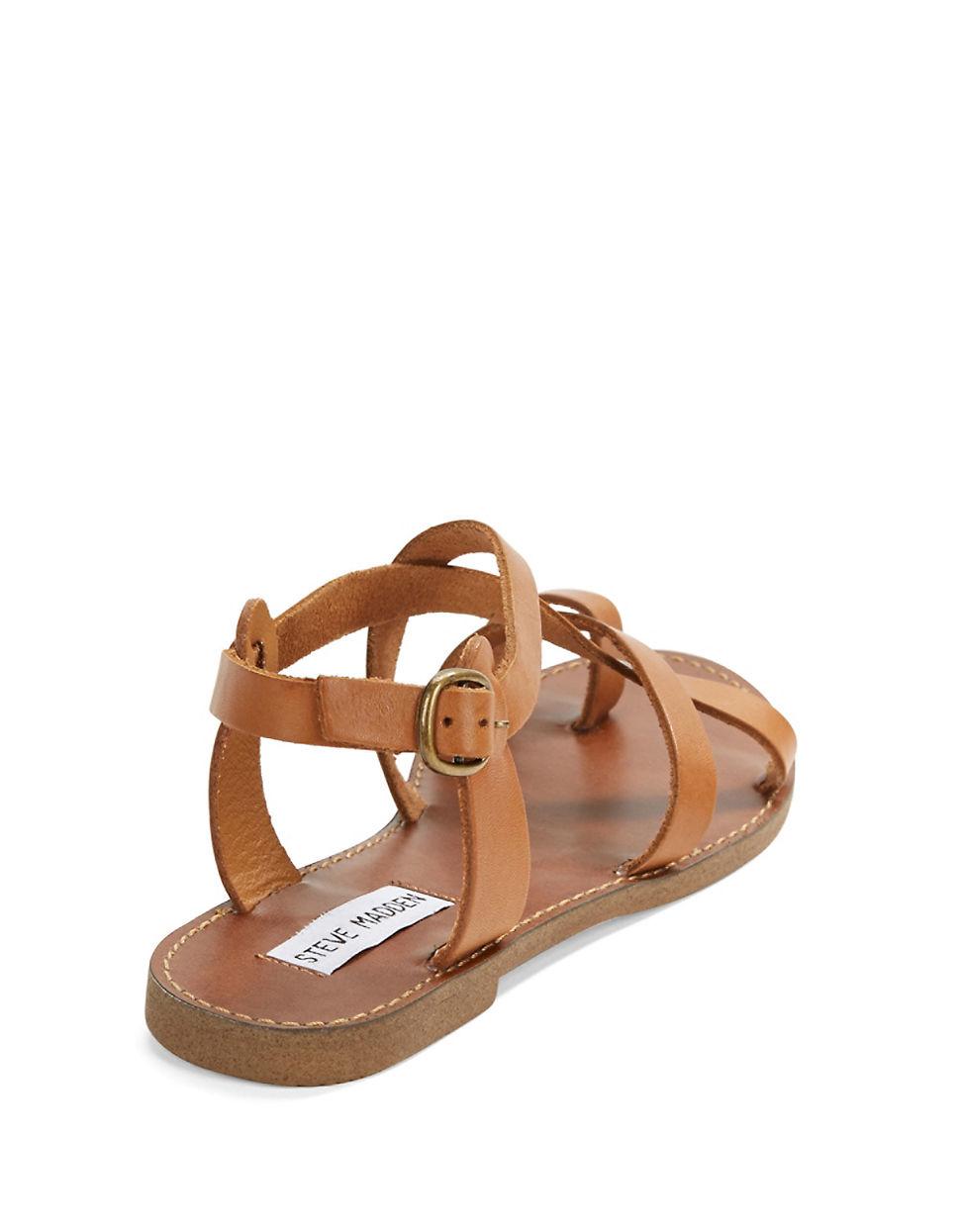 steve madden agathist leather strappy sandals in brown lyst. Black Bedroom Furniture Sets. Home Design Ideas