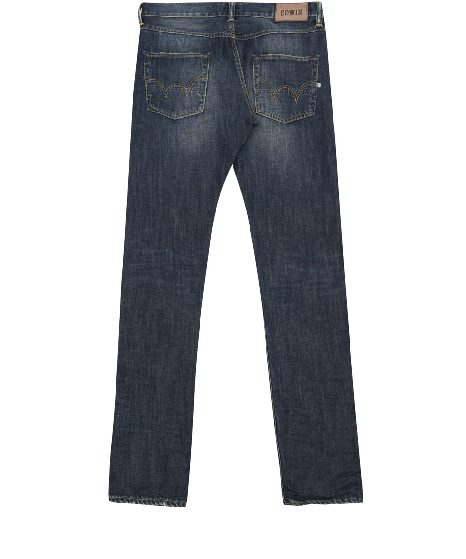 Blurred Wash Edwin Denim ED-55 Relaxed Tapered Jeans