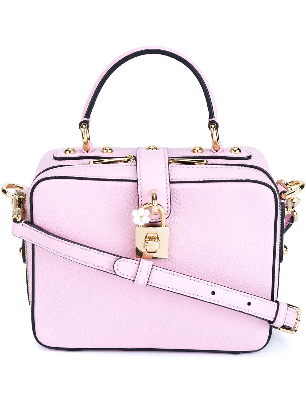 c58383bd43b5 Lyst - Dolce   Gabbana Lock Embellished Box Bag in Pink