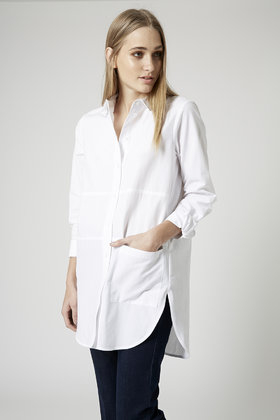 28df9f3862 TOPSHOP White Oversized Pocket Shirt